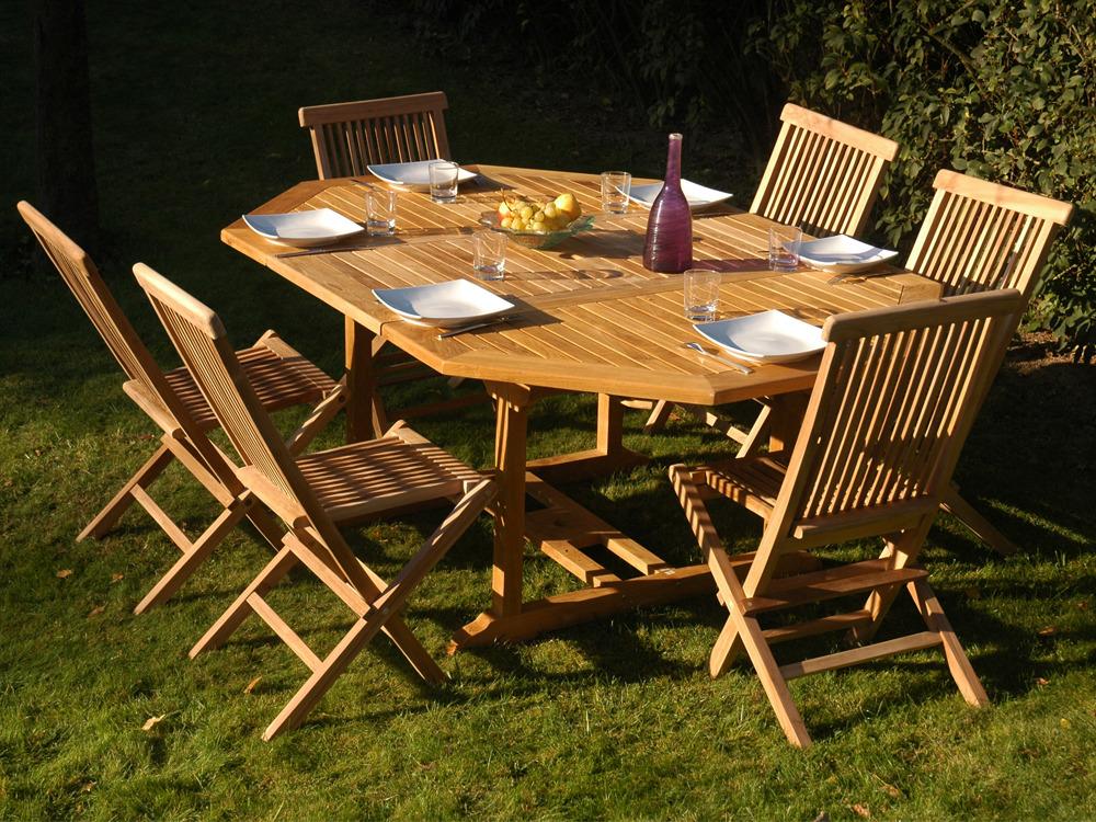 Awesome table de jardin en teck massif contemporary awesome interior home satellite - Salon de jardin en teck massif ...
