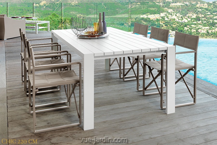 Table jardin aluminium blanc menuiserie for Table exterieur en aluminium