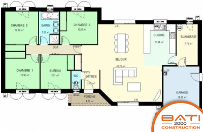 Plan maison plain pied 3 chambres et bureau menuiserie for Plan maison 3 chambres et un bureau