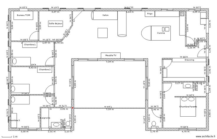 plan maison moderne u
