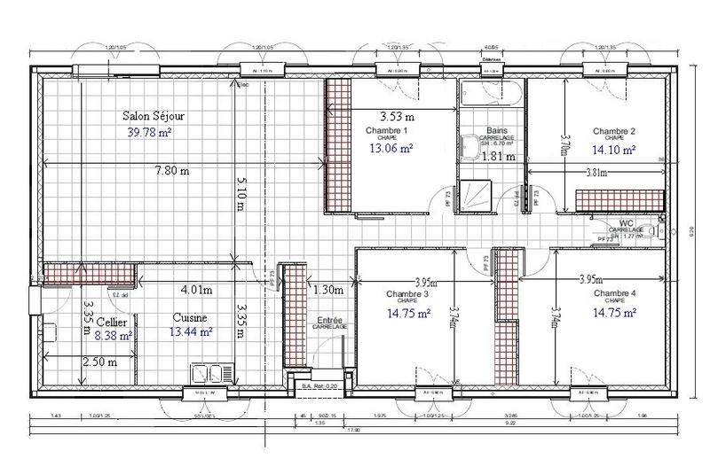 plan maison plain pied 4 chambres 110m2 - Plan Maison 110m2 Plein Pied