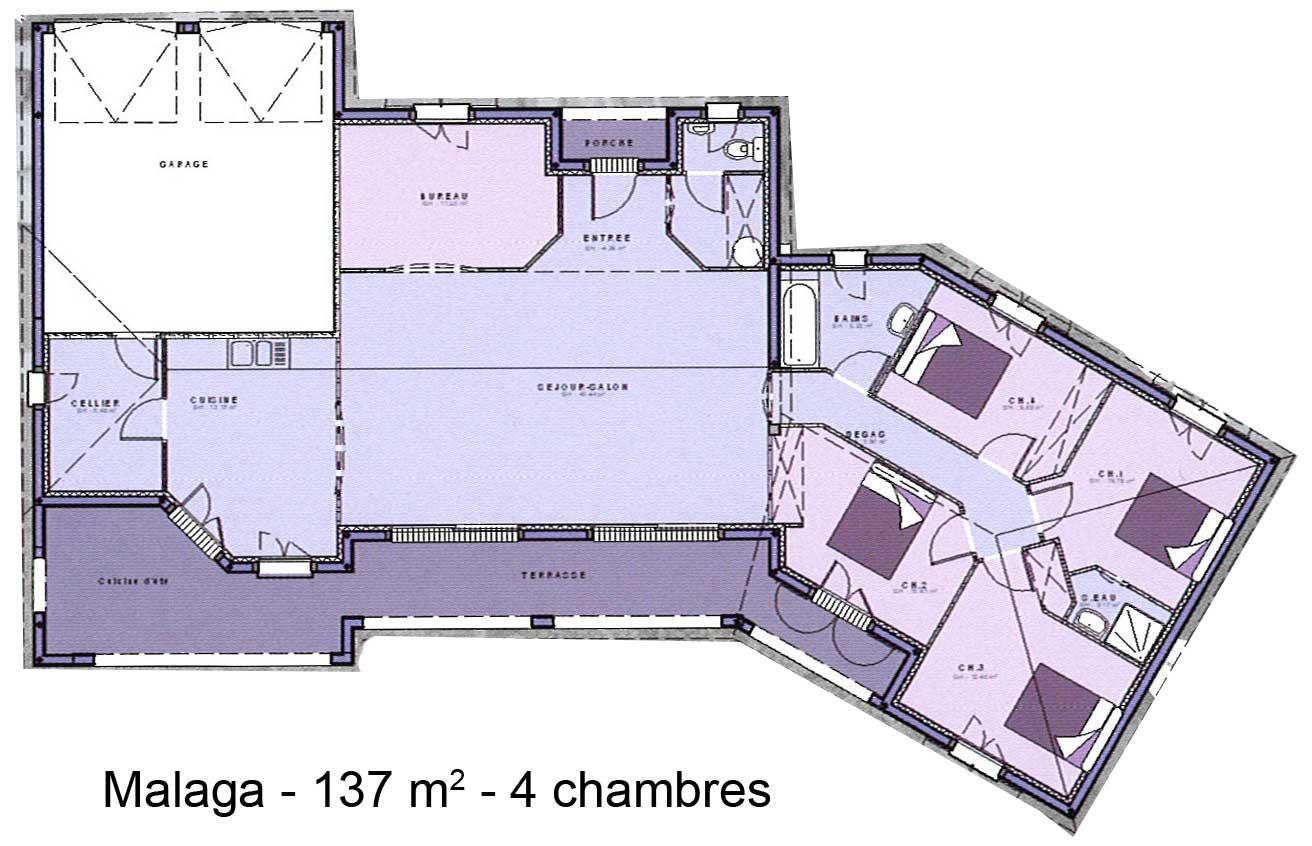 plan maison plain pied 4 chambres toit plat menuiserie. Black Bedroom Furniture Sets. Home Design Ideas