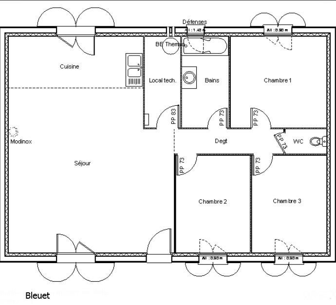Plan maison 80m2 3 chambres menuiserie for Plan maison 80m2