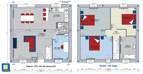 Plan maison 3 chambres etage menuiserie for Maison 100m2 etage