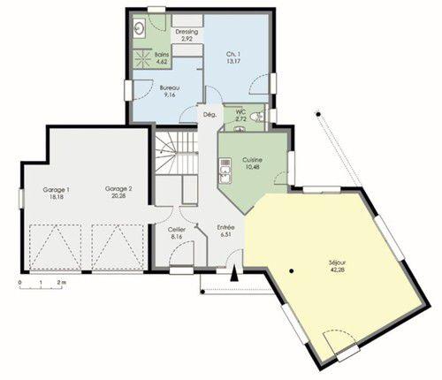 plan maison double garage. Black Bedroom Furniture Sets. Home Design Ideas