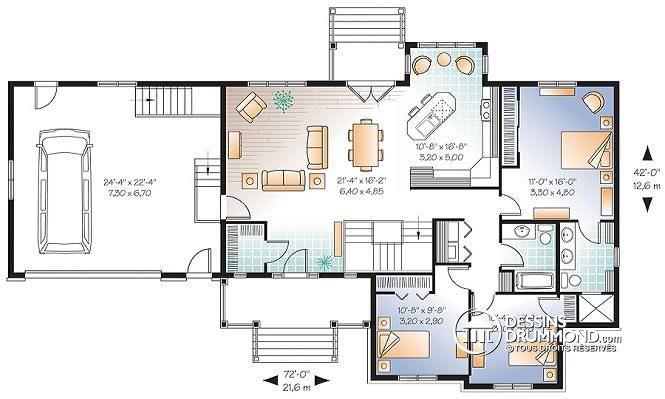 plan maison 6 chambres plain pied - menuiserie