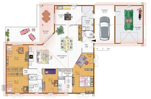 Grand Plan Maison Plain Pied 6 Chambres Beau