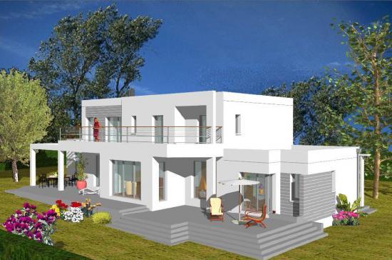 plan maison moderne r+1