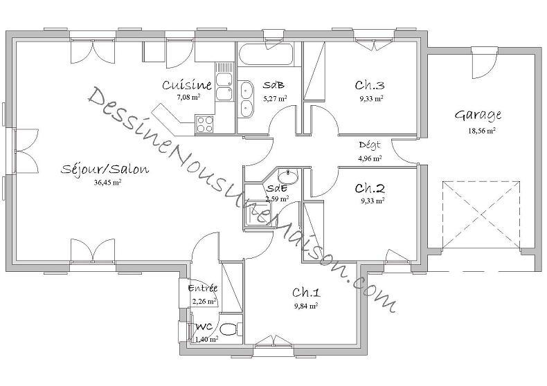 Plan Maison Plain Pied 4 Chambres 150M2 - Menuiserie