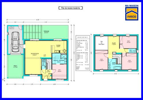 Plan Maison L 4 Chambres - Menuiserie