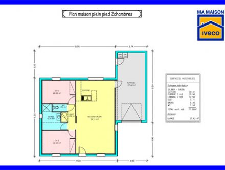 Plan Maison M  Chambres Affordable Maison Simple Et Moderne
