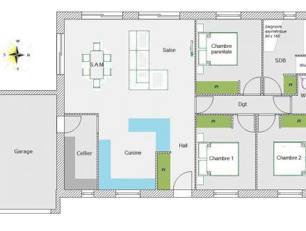 Plan maison 70m2 good gallery of plans plan maison bois - Plan maison 70m2 plein pied ...