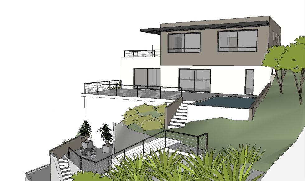 Plan maison en pente architecture menuiserie - Plan maison en pente ...