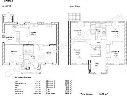 Plan Maison Plain Pied En L Chambres Et Garage. Maison 4 Chambres