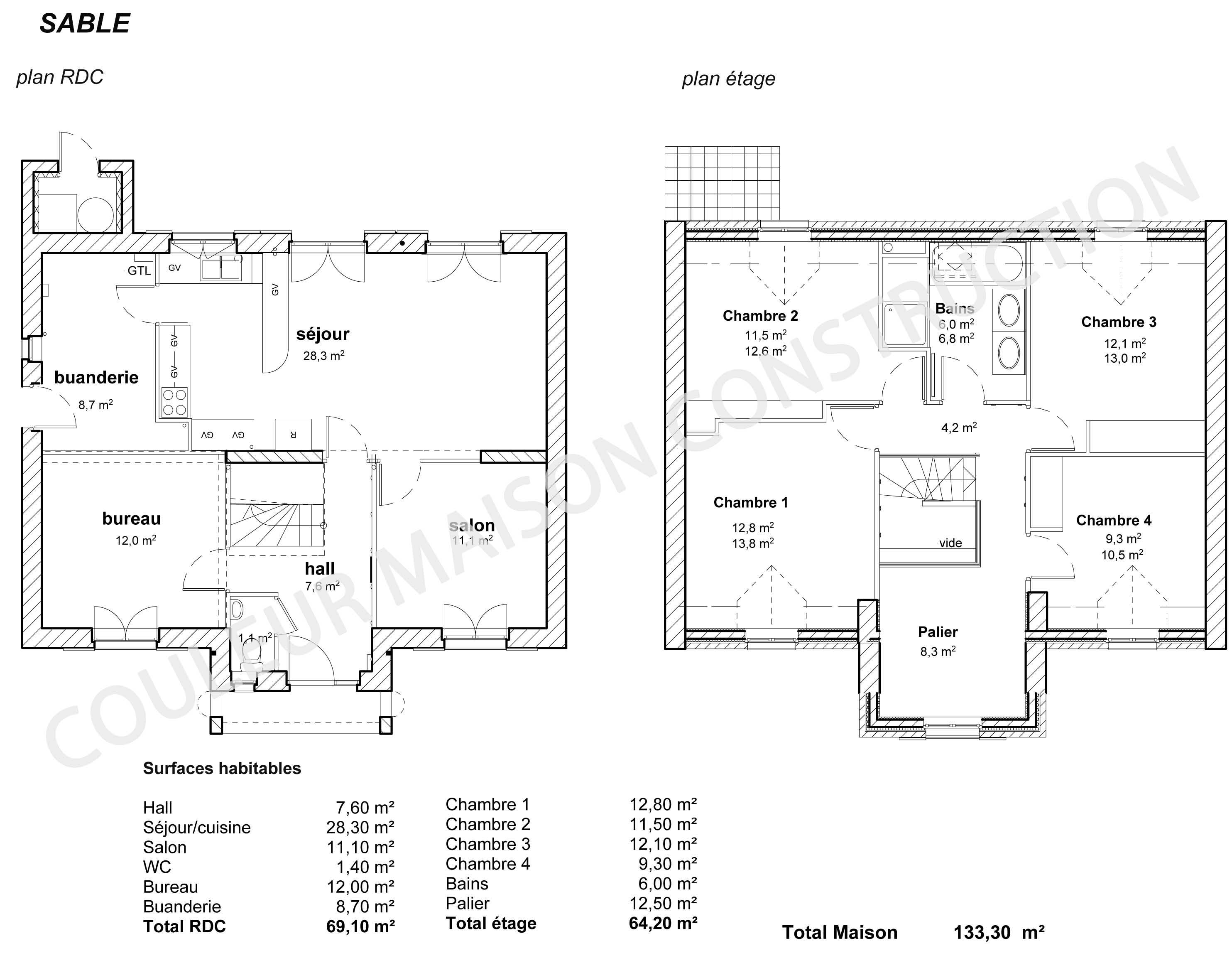 Plan maison plain pied 150m2 maison moderne for Exemple de plan maison plain pied