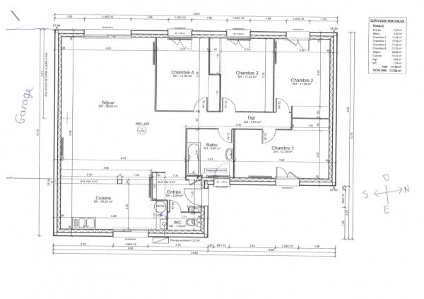 Plan maison 120m2 plain pied menuiserie - Plan maison plain pied 120m2 ...