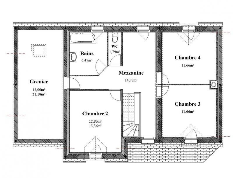 Plan Maison tage  Chambres  Menuiserie