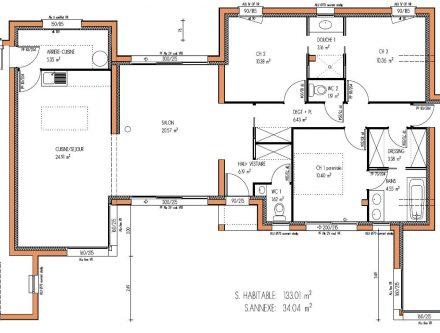 Plan maison 200m2 plein pied bruno plein pied 4 agrandir for Plan maison moderne 200m2