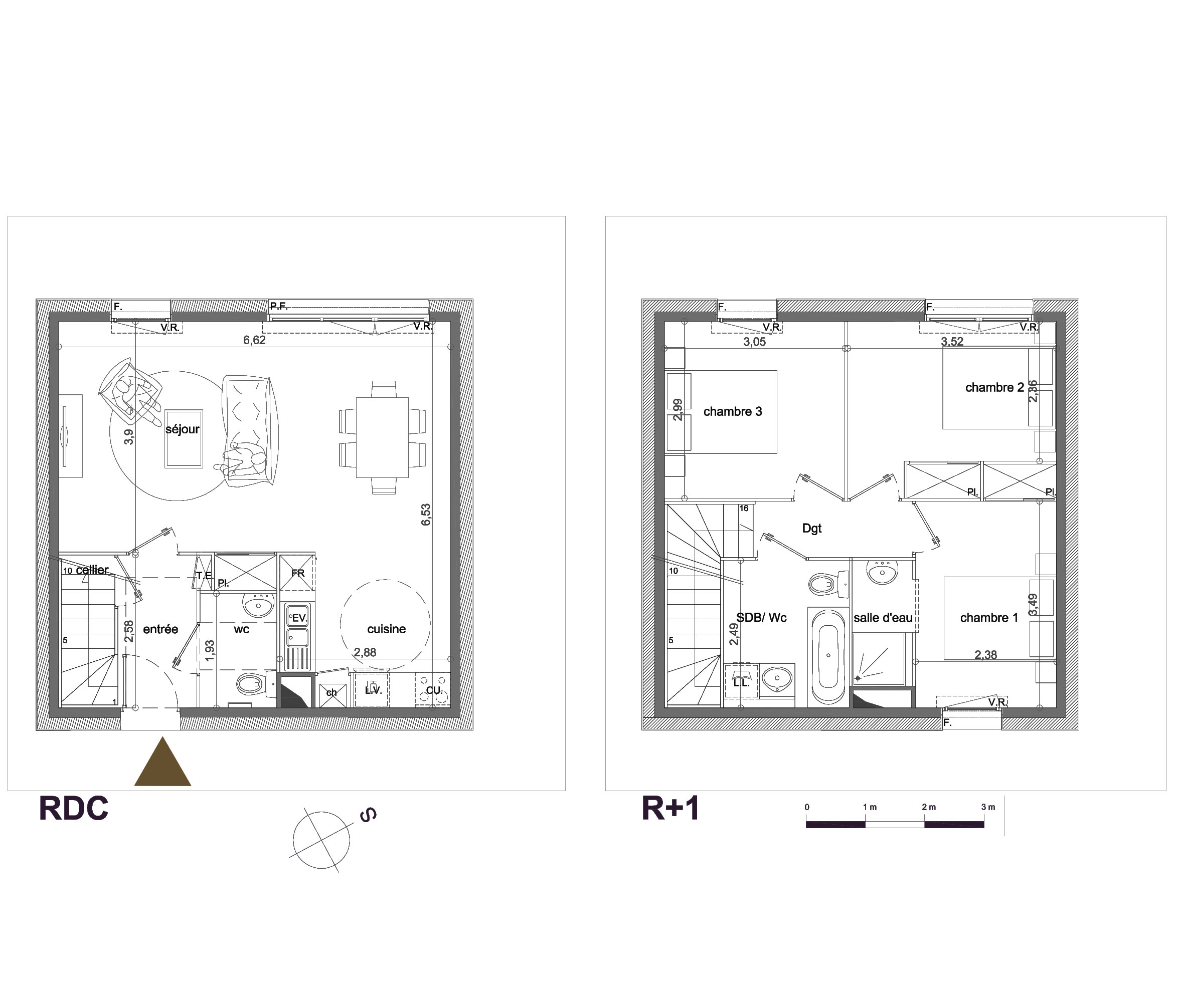 Plan maison etage 3 chambres menuiserie for Plan maison contemporaine a etage