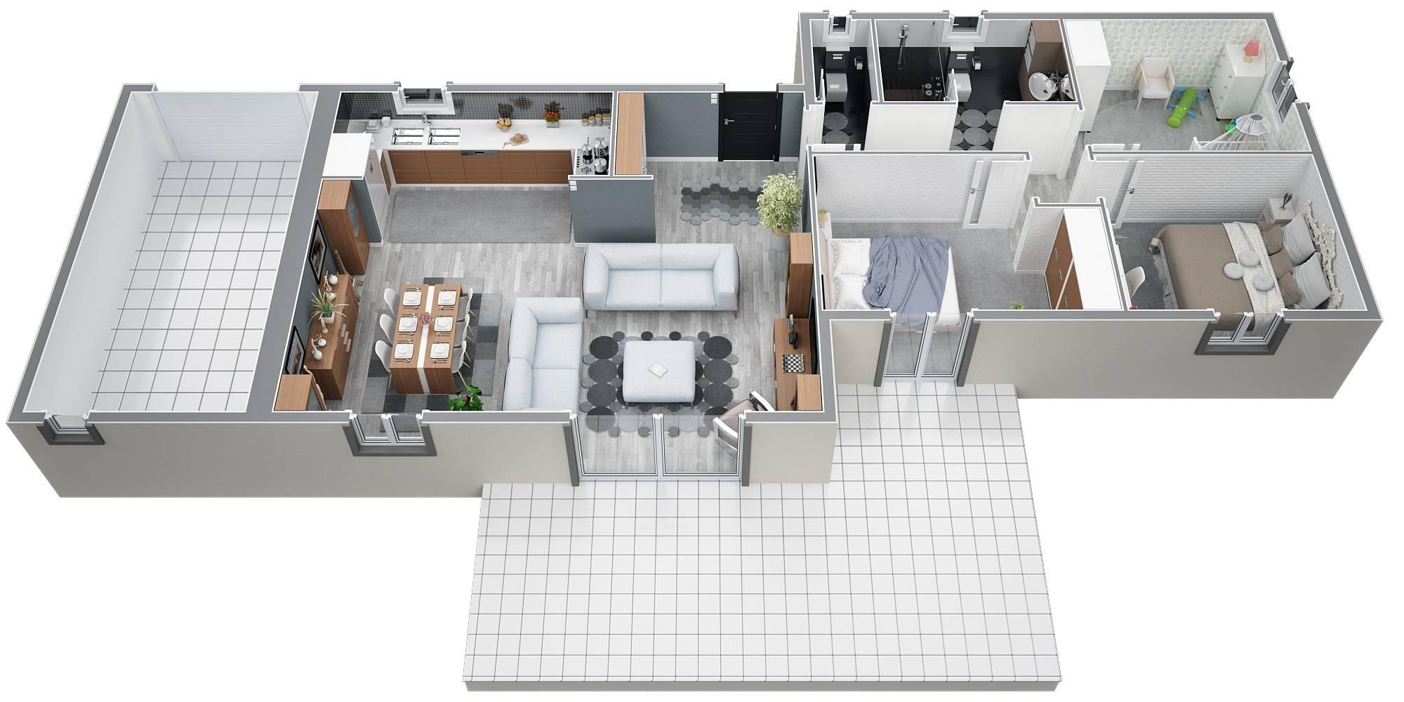 luxe plan de maison plain pied 3 chambres | ravizh.com - Plan Maison Plain Pied 100m2 3 Chambres