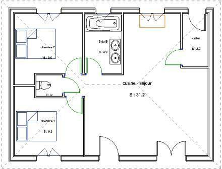 Plan maison simple 2 chambres menuiserie for Plan pavillon plain pied