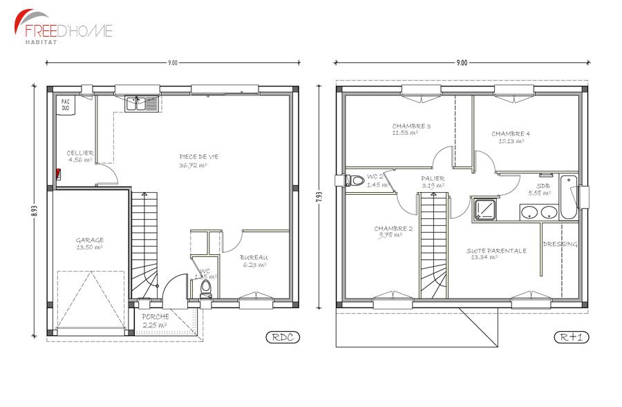 Plan maison 100m2 a etage menuiserie for Modele plan maison etage