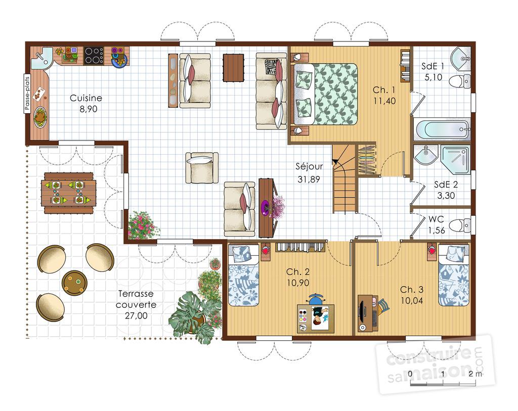 Plan de maison villa menuiserie for Plan maison villa