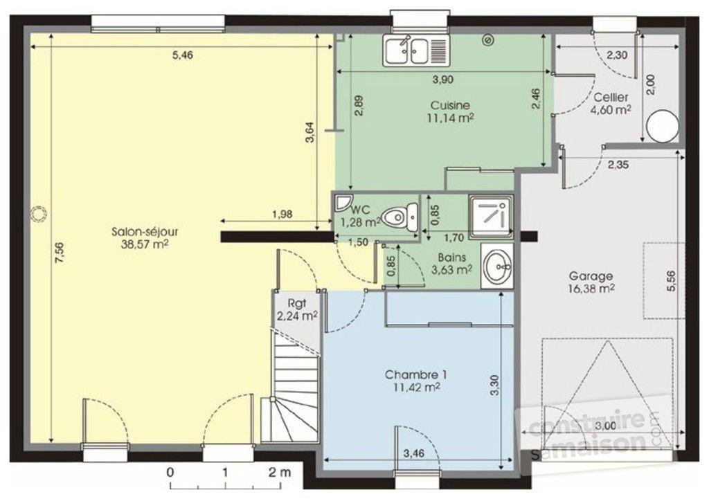 plan maison etage 120m2