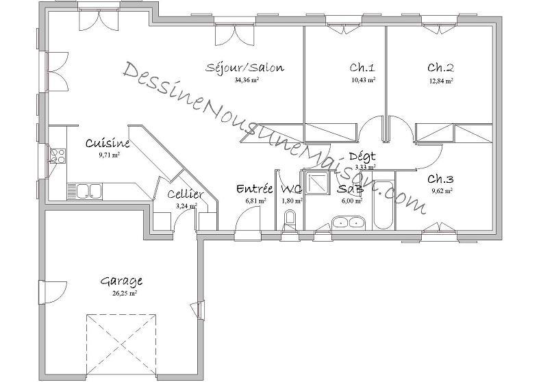 Plan Maison Plain Pied M  Menuiserie