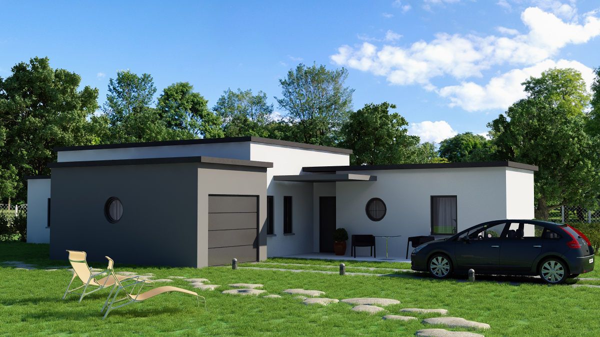Maison contemporaine 120m2 for Cout pied carre construction maison