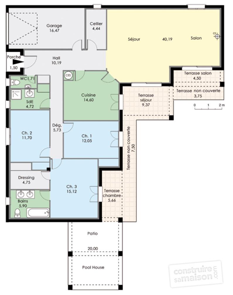 plan maison mitoyenne plain pied plan maison plain pied. Black Bedroom Furniture Sets. Home Design Ideas