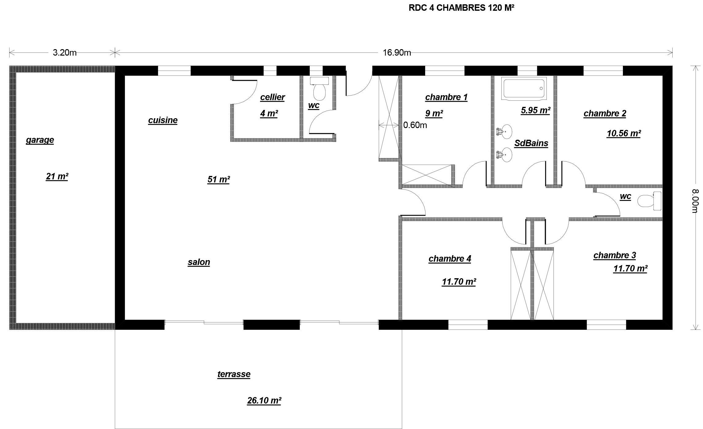 Simple plan maison m with maison 90m2 plain pied for Plan maison plain pied 90m2