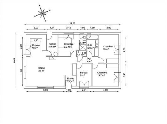 Plan maison rectangulaire plain pied 100m2 menuiserie for Plan maison plain pied 100m2 avec garage
