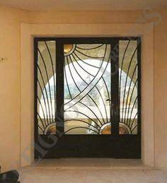 Porte d entr e en fer forg moderne menuiserie for Porte villa en fer