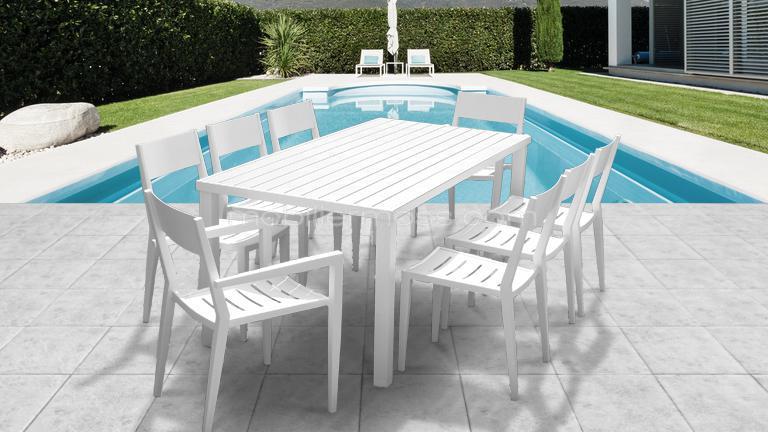 Table jardin blanc - Menuiserie