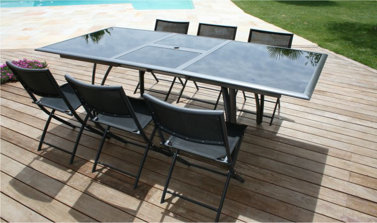 table de jardin en aluminium pas cher menuiserie. Black Bedroom Furniture Sets. Home Design Ideas