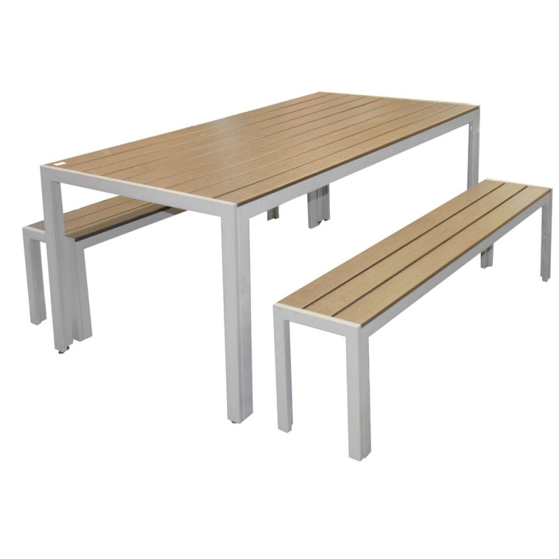Table en bois avec banc exterieur menuiserie - Table exterieur en bois ...