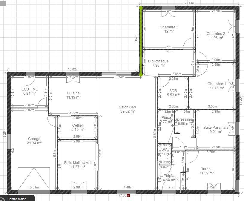 Plan maison plain pied 200m2 menuiserie for Plan maison moderne 160m2
