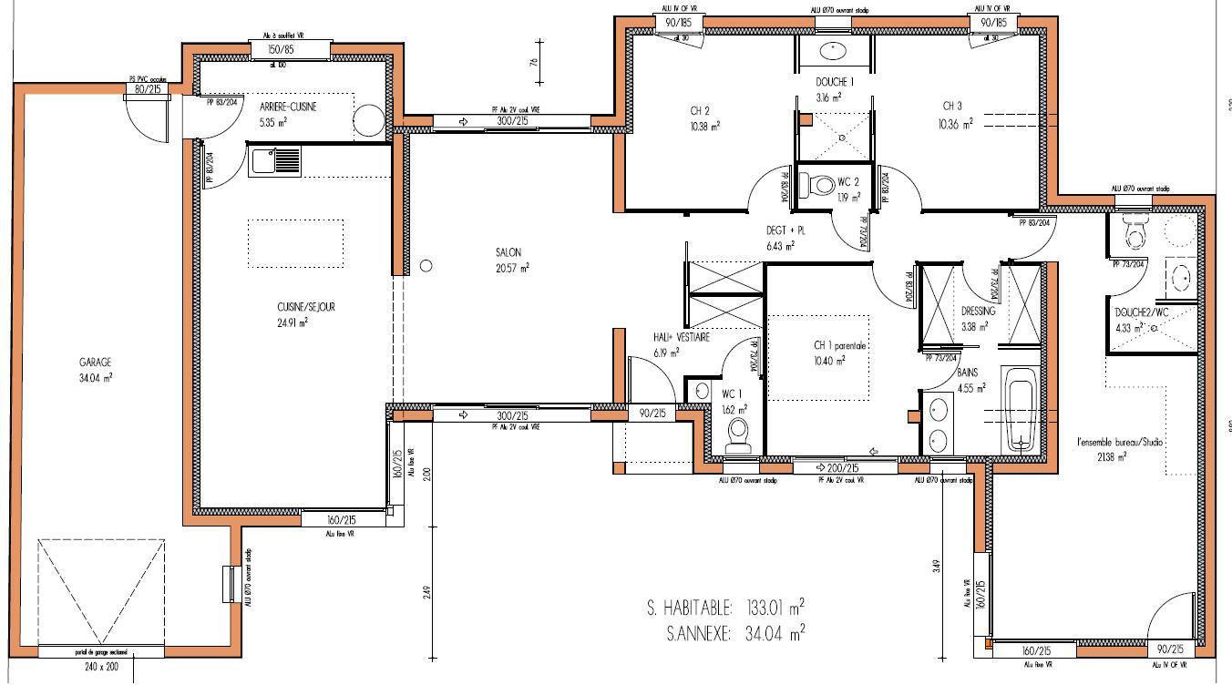 plan de maison plain pied 200m2