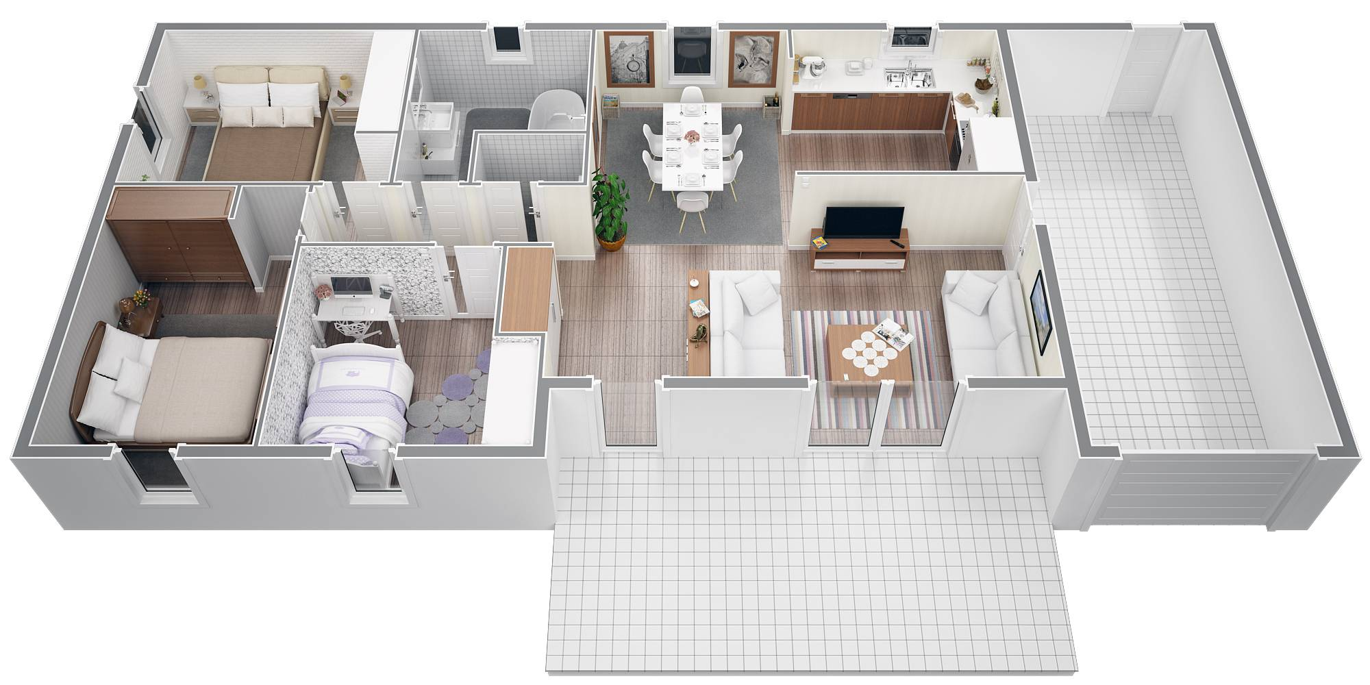 Plan maison moderne 100m2 - Menuiserie
