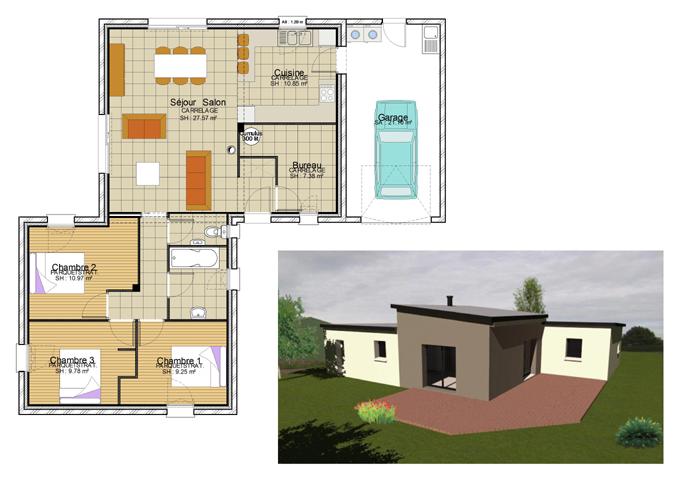 maison plain pied plan menuiserie. Black Bedroom Furniture Sets. Home Design Ideas
