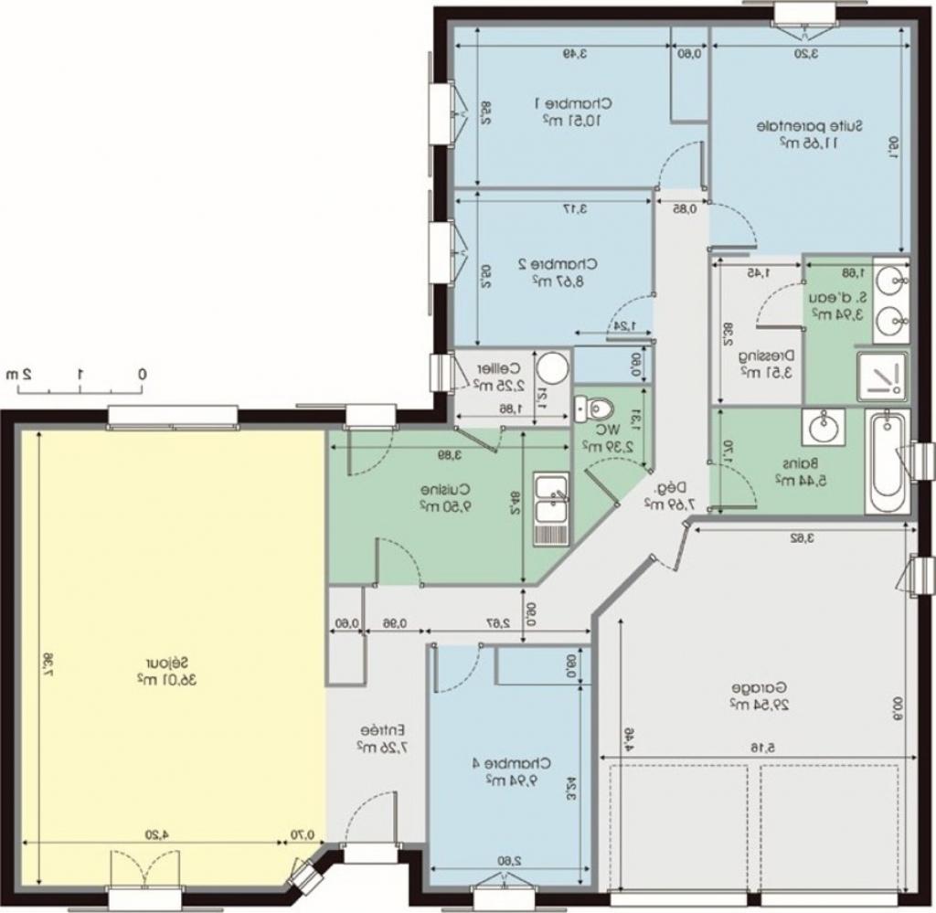 Idee plan maison 4 chambres menuiserie - Plan maison 5 chambres gratuit ...