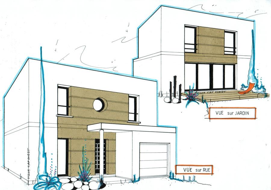 maison cubique plain pied menuiserie. Black Bedroom Furniture Sets. Home Design Ideas